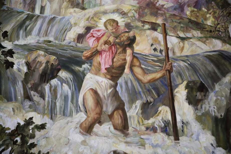 Szent Kristóf freskó